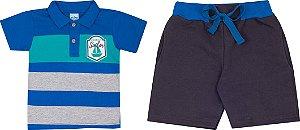 Conjunto Infantil Camiseta Gola polo Azul + Bermuda em Moletinho Serelepe 5079
