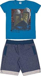 Conjunto Infantil Camiseta Azul + Short Moletinho Serelepe  5122