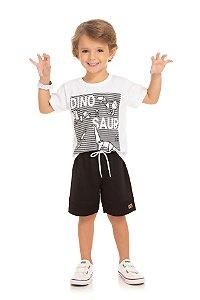 Conjunto Infantil Maculino Camiseta Branca e Short Moletinho Serelepe 5653