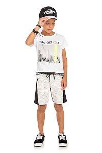 Conjunto Infantil Maculino Camiseta Branca e Short Moletinho Serelepe 5674