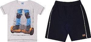 Conjunto Infantil Maculino Camiseta Mescla e Short Moletinho Serelepe 5675