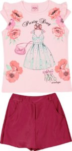 Conjunto Infantil Short Saia + Blusa Rosa Serelepe 5098