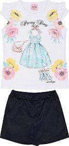 Conjunto Infantil Short Saia + Blusa Branca Serelepe 5098