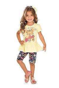 Conjunto Infantil Blusa Amarela + Bermuda Cotton Serelepe 5047