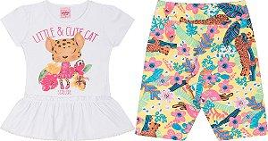 Conjunto Infantil Blusa Branca + Bermuda Cotton Serelepe 5047