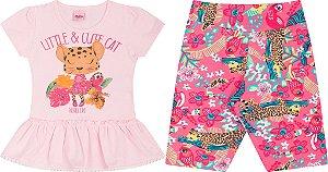 Conjunto Infantil Blusa Rosa + Bermuda Cotton Serelepe 5047