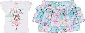 Conjunto Infantil Short Malha + Blusa Branca Serelepe 5050