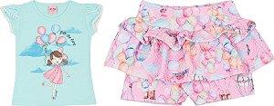 Conjunto Infantil Short Malha + Blusa Verde Serelepe 5050