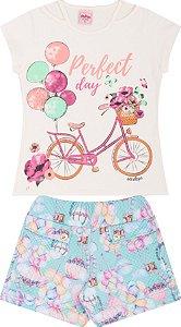 Conjunto Infantil Short Malha + Blusa Off Serelepe 5097