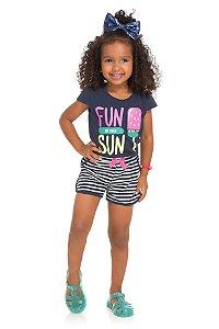 Conjunto Infantil Short Malha + Blusa Azul Serelepe 5548