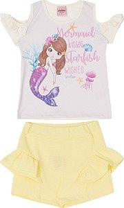 Conjunto Infantil Short Malha + Blusa Off Serelepe 5538