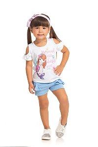Conjunto Infantil Short Malha + Blusa Branca Serelepe 5538
