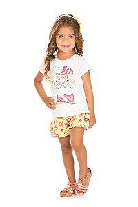 Conjunto Infantil Short Malha + Blusa Branca Serelepe 5046
