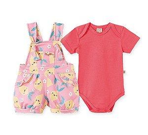 Conjunto Jardineira + Body Infantil Limão Rosa Pingo Lelê 66603