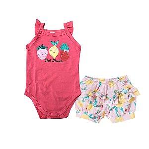 Conjunto Body Regata + Short Limão Pink Pingo Lelê 66599