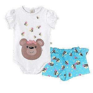 Conjunto Body + Short Urso e Abelhas Pingo Lelê 66614
