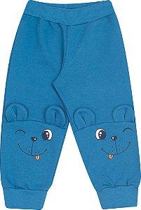 Calça Moletom Bebê Azul Serelepe 4819