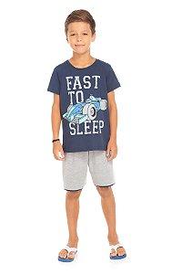 Pijama Infantil Camiseta Azul + Bermuda Serelepe 5697