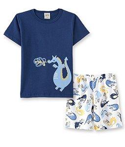 Pijama Infantil Camiseta Dragão + Short Pingo Lelê 86007