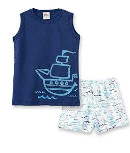 Pijama Infantil Regata Barco + Short Pingo Lelê 86022