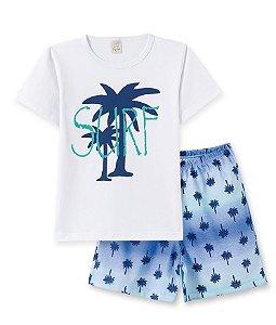 Pijama Infantil Camiseta Surf + Bermuda Pingo Lelê 86074