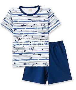 Pijama Infantil Camiseta Tubarão Brilha no Escuro + Short Pingo Lelê  86084