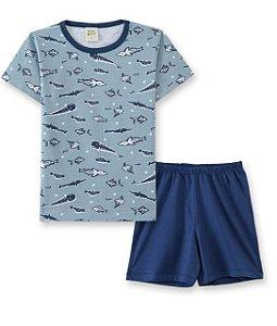 Pijama Infantil Camiseta Escamas + Short Pingo Lelê  86015