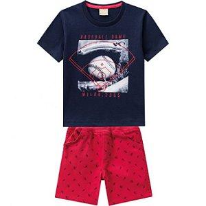 Conjunto Infantil Camiseta Azul + Short Sarja Milon 11791