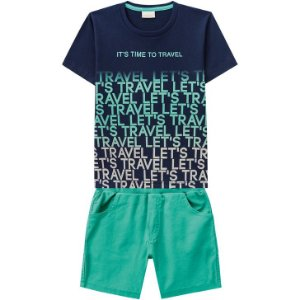 Conjunto Infantil Camiseta Azul + Bermuda Sarja Milon  11793