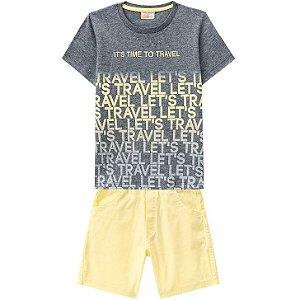Conjunto Infantil Camiseta Mescla + Bermuda Sarja Milon  11793