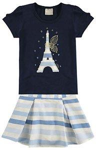 Conjunto Infantil Blusa Azul + Saia Short Milon  10810