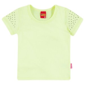 Blusa Baby Look Básica Infantil c/ Strass Amarelo Kyly 107621