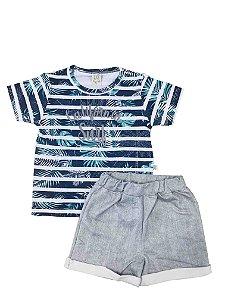 Conjunto Infantil Camiseta Tropical + Short Mescla Pingo Lelê 66371