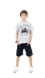 Conjunto Infantil Bermuda Moletinho + Camiseta Pega Mania 76184
