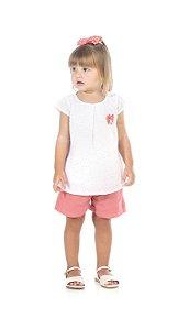 Conjunto Infantil Short em Sarja + Blusa Laise Pega Mania 73091