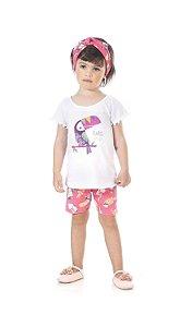Conjunto Infantil Bermuda Cotton + Blusa Manga Curta Pega Mania 76178