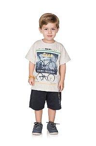 Conjunto Bermuda Infantil Moletinho + Camiseta Pega Mania 76147