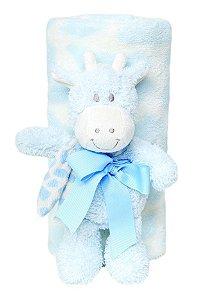 "Kit Manta Soft com Bichinho ""Girafa"" Azul Buba 5162R"