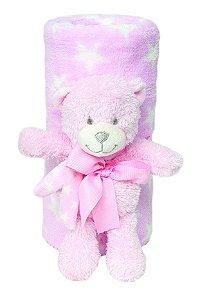 """Kit Manta Soft com Bichinho """"Urso"""" Rosa Buba 5163R"""