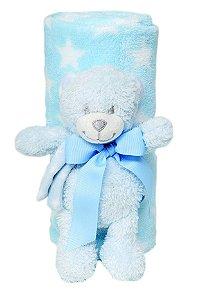 """Kit Manta Soft com Bichinho """"Urso"""" Azul Buba 5163A"""