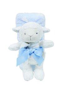 "Kit Manta Soft com Bichinho ""Ovelha"" Azul Buba 6704"