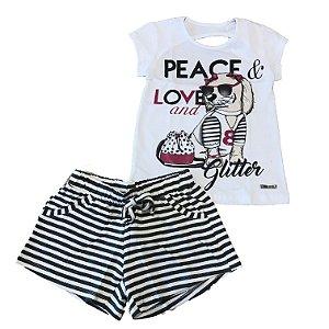 Conjunto Infantil Blusa + Shorts Cachorrinho Pega Mania 73073