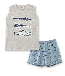 Pijama Infantil Regata Mescla + Short Pingo Lelê 86014