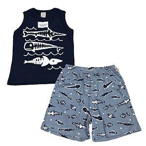 Pijama Infantil Regata Azul Marinho + Short Pingo Lelê 86014