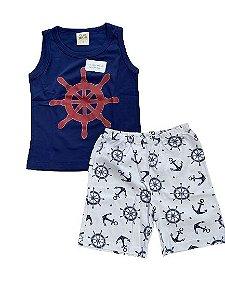 Pijama Infantil Regata + Bermuda Pingo Lelê 85055