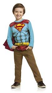 Camiseta Manga Longa Superman com Capa Kamylus 91517