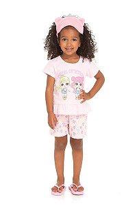 Pijama Infantil Curto Bonequinhas Serelepe 5689 Rosa