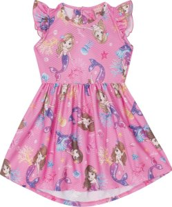 Vestido Infantil Curto Sereia Serelepe 5558 Rosa
