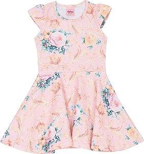 Vestido Infantil Florido Rosa Serelepe 5055