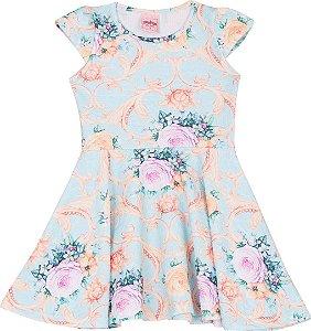 Vestido Infantil Florido Turqueza Serelepe 5055